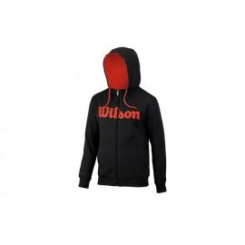 Wilson M Script Cotton Hoody Bk/Fiesta