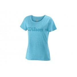 Wilson W Uwi script Tech Tee Blue Atoll