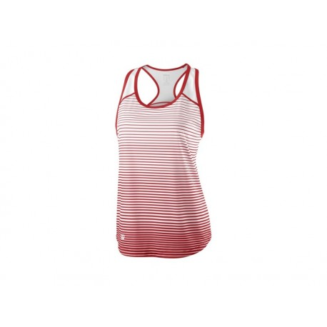 WILSON W TEAM STRIPED TANK RD/WH