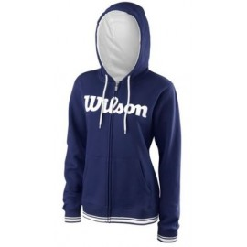 WILSON W TEAM SCRIPT FZ HOODY Blue Depth/Wh