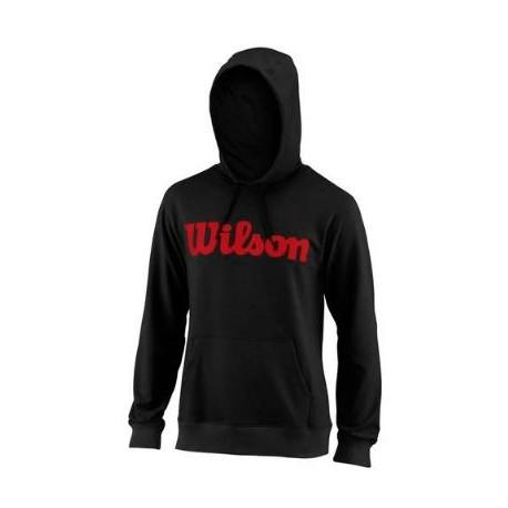 WILSON M SCRIPT COTTON PO HOODY Bk/RD